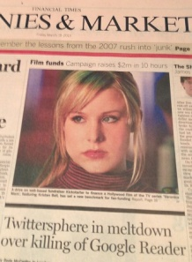 Financial Times front page showing Veronica Mars and also Google reader headline