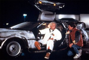 "Scene from the film ""Back to the future"" featuring the DeLorean car, Michael J. Fox and Christopher Lloyd"