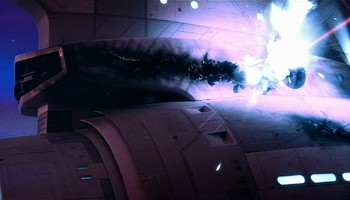 Image of Star Trek Enterprise getting attacked without shields.