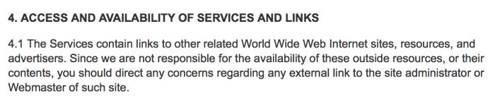nytimes.com license agreement showing lack of information about linked sites.